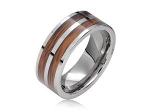 Bling Jewelry Tungsten Brown Wood Inlay Double Row Mens Band Ring