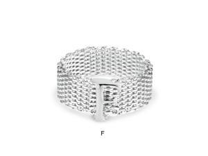 Bling Jewelry Sterling Silver Alphabet Letter F Mesh Ring