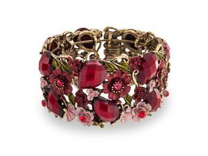 Bling Jewelry Red Garnet Color Crystal Garden Flower Cuff Bangle Bracelet