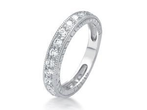 Bling Jewelry 925 Sterling Silver Vintage CZ Milgrain Wedding Band