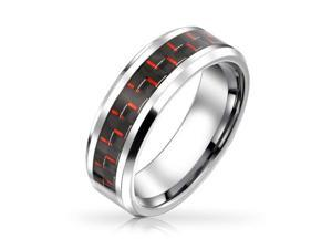 Bling Jewelry Black Red Carbon Fiber Inlay Tungsten Wedding Band Ring 8mm