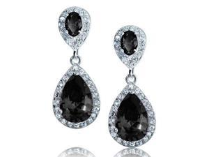 Bling Jewelry Simulated Onyx CZ Pave Teardrop Chandelier Earrings Rhodium Plated