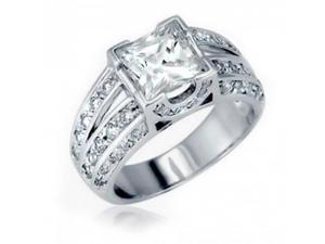 Bling Jewelry Sterling Silver Vintage Double Shank Princess Cut Engagement Ring