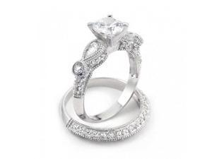 Bling Jewelry 925 Silver Vintage Round Teardrop Wedding Engagement Ring Set