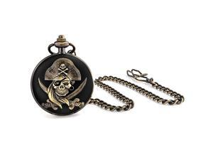 Fathers Day Gifts Antique Style Pirate Skull and Crossbones Black Gold Plated Mens Pocket Watch