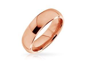 Bling Jewelry Rose Gold Plated Unisex Tungsten Wedding Band Comfort Fit Ring 6mm