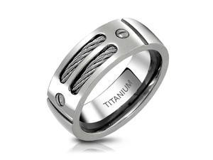 Bling Jewelry Mens Titanium Double Stainless Steel Cable Screw Wedding Band 8mm