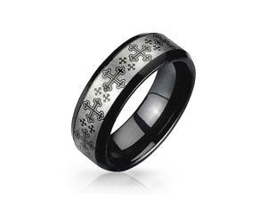 Bling Jewelry Medieval Cross Black and Tungsten Ring 8mm Silver Plated