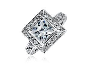 Bling Jewelry Vintage Style Princess Cut CZ Milgrain Engagement Ring 925 Sterling Silver