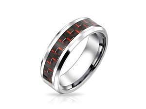 Memorial Day Bling Jewelry Black Red Carbon Fiber Inlay Tungsten Wedding Band Ring 8mm
