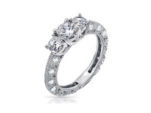Bling Jewelry Vintage Style Round Sterling Silver CZ Engagement Wedding Ring 1.25ct