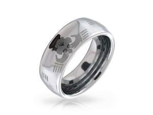 St Patricks Day Jewelry Claddagh Celtic Hand Design Tungsten Ring 8mm