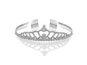 Bling Jewelry Echoing Heart Rhinestone Crystal Bridal Crown Tiara Silver Plated