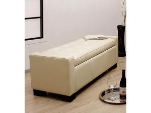 Tufted Leather Storage Bench Creme