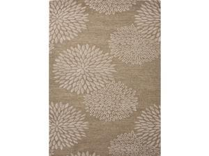 Transitional Beige/Brown Wool/Silk Tufted Floral Rug (5' x 8')