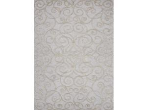 Transitional Floral Blue Wool/Silk Tufted Accent Rug (2' x 3')