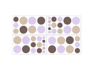 Sweet JoJo Designs Purple and Brown Mod Dots Wall Decal Stickers (Set of 4)
