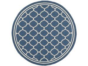 Safavieh Soft Indoor/ Outdoor Courtyard Navy/ Beige Rug (5'3 Round)
