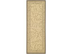 Indoor/ Outdoor Oasis Natural/ Brown Runner (2'4 x 9'11)