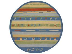 Hand-woven Mandara Flat-weave Gold Wool Rug (7'9 Round)