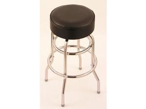 Chrome Double-ring 30-inch Backless Counter Swivel Stool with Black Vinyl Cushion Seat