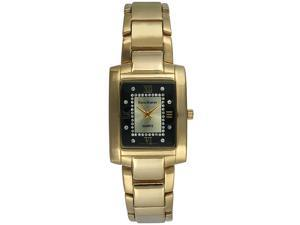 Steve Harvey Men's Gold Rectangular Black Dial Watch
