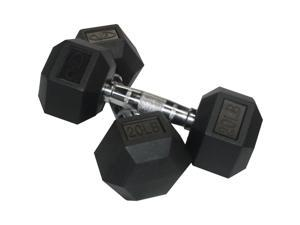 Valor Fitness 20 lb Black Rubber Hex Dumbbells (Set of 2)