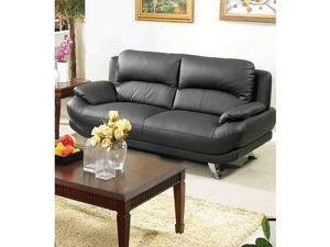 Alice Black Leather Sofa