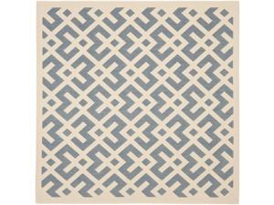 Blue/ Bone Indoor Outdoor Rug (6'7 Square)