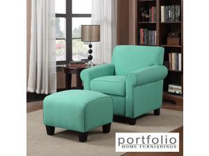 Portfolio Mira Soft Emerald Green Linen Arm Chair and Ottoman