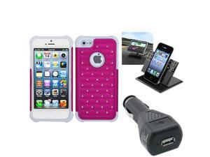 BasAcc Car Charger/ Dashboard Holder/ Lattice Case for Apple iPhone 5