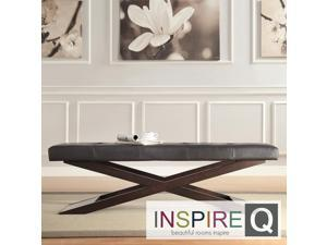 Inspire Q Yakiya Modern Espresso Finish Trestle-style Base Bench
