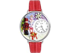 Whimsical Women's Christmas Nutcracker Theme Red Leather Strap Watch