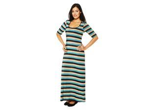 24/7 Comfort Apparel Women's Striped Elbow Sleeve Maxi Dress