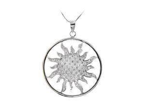 Sterling Silver Clear CZ Sun Pendant Necklace