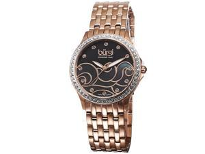 Burgi Women's Swiss Quartz Diamond MOP Wave Dial Bracelet Watch