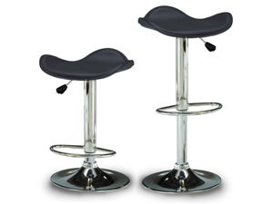 "Gamma Contemporary ""Leather"" Adjustable Barstool - Black Licorice"