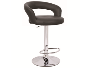 "Halo ""Leather"" Contemporary Adjustable Barstool - Black"