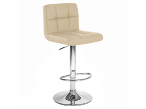 "Boris Contemporary ""Leather"" Adjustable Barstool - Cream"