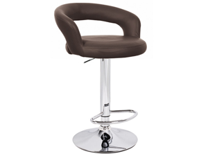 "Halo ""Leather"" Contemporary Adjustable Barstool - Brown"