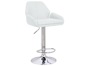 "Tesla Contemporary ""Leather"" Adjustable Barstool - White"