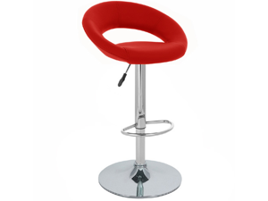 "Rho ""Leather"" Contemporary Adjustable Barstool - Red"