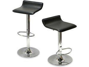 Sigma Faux Leather Adjustable Height Swivel Barstool (Black Licorice)