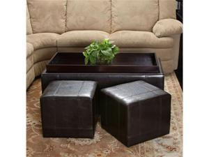 Christopher Knight Andre 3-Piece Leather Ottoman Set (Espresso)