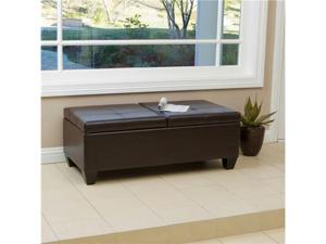 Christopher Knight Alfred Brown Leather Storage Ottoman