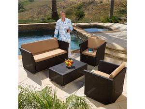Christopher Knight Home 4-Piece Brown PE Wicker Patio Sofa Set
