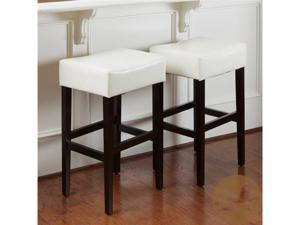 Christopher Knight Home Cream Leather Backless Bar Stools (Set of 2)
