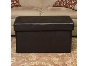 Christopher Knight Home 232218BRN Nottingham Folding Leather Storage Ottoman - Brown