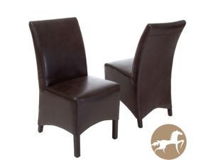 Christopher Knight Home Gilmore Brown Leather Dining Chairs (Set of 2)