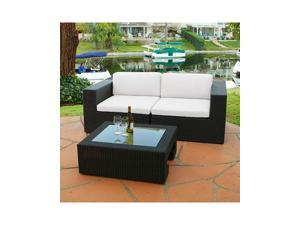 Christopher Knight Home Madrid 3-piece Outdoor Wicker Loveseat and Glass Top Table Set